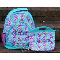 Peace Signs Print Full Size Backpack Bookbag by daffedesigns, $25.00