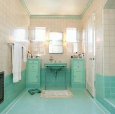 Reverse aqua and white (subway tiles on bottom and aqua paint on top).
