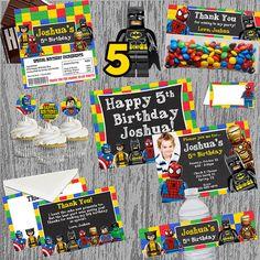 Lego Superhero Ultimate Birthday Invitation & Printable Party Package Digital Files; You Print