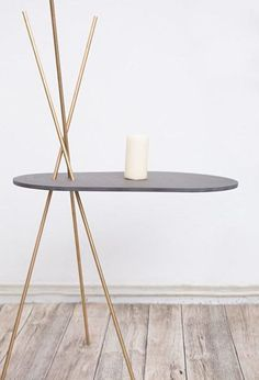 Möbel Tisch + Stuhl DIY instructions: Build your own side table made of black MDF with brass legs vi