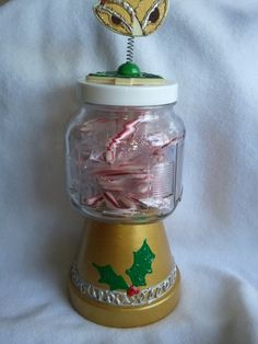 Terra Cotta Christmas candy jar by Cherie4e on Etsy, $20.00