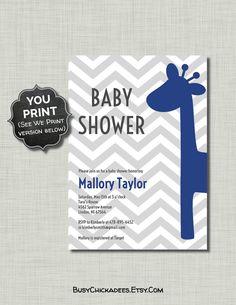 Navy Gray Baby Shower Invitation Giraffe royal by BusyChickadees