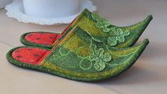 Watermelon/Art quilt / Patchwork Handmade slippers/By order