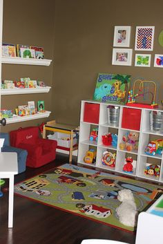 Great ideas for organizing playrooms or any room where you store toys (From Overwhelmed to Organized)
