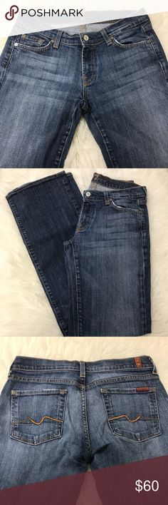 🍂🍁7 For All Mankind 🍁🍂 In excellent condition. No rips or stains on the denim. Bootcut long jeans. Great for the fall and winter weather. Slight fade wash. Jean is very durable as it's one of the most recognized jean brand world wide. Size 30. Measurements laying flat. Length 41in. Waist 15in. Inseam 32in. Bootcut width 9in. 7 For All Mankind Jeans Boot Cut