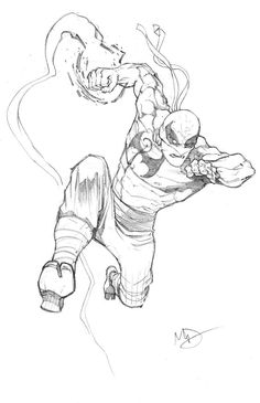 Iron Fist by Max Dunbar for Sketch Dailies Sketch Poses, Art Studio Room, Iron Fist Marvel, Drawing Superheroes, Fighting Poses, Dc Comics Heroes, Black White Art, Action Poses, Comic Art