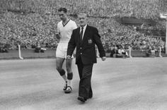 4/5/1957 After receiving a treatment Ray Wood returned as an outfield player. With a broken jaw!!!