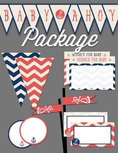 Baby Ahoy Shower Printable Package  Customize by SummerRaine, $25.00 Wishes For Baby, Nautical Theme, Packaging, Printables, Baby Showers, Unique Jewelry, Handmade Gifts, Shower Ideas, Party