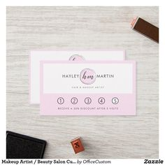 Shop Makeup Artist / Beauty Salon Custom Logo - Loyalty Card created by OfficeCustom. Hair And Makeup Artist, Monogram Styles, Custom Cards, Custom Logos, Loyalty, Packaging Design, Holiday Cards, Salons, Cards Against Humanity