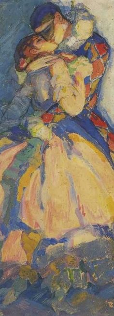 "Mikhail Bobyshov (1885-1964, Soviet Russian), 1915, detail Harlequin and Columbine, Ballet Carnival (Арлекин и Коломбина. балет ""Карнавал). #Kiss"