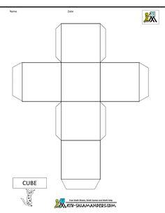 3d geometric shapes cube net tabs