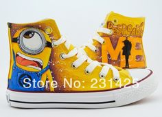 2014 cartoon anime figure women despicable me shoes minion shoes women and men canvas high tops sneakers women shoes minions US $35.00