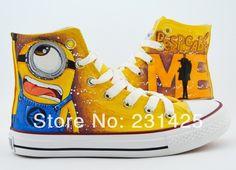 2014 cartoon anime figure women despicable me shoes minion shoes women and men canvas high tops sneakers women shoes minions US $35.00