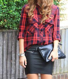 Plaid & leather.