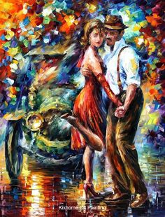 Afremov-old tango by Leonid Afremov reproductions,hand made palette knife landscape painting oil on canvas for home deco