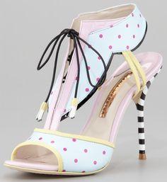 Sophia Webster Leilou Polka-Dot T-Strap Sandal, Blue:Pink