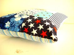 Patchwork Cushion Blue by cronopia6 on Etsy, $10.00