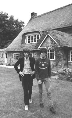 Mick Jagger and Keith Richards in their 'country casuals' attire in West Sussex, 1960s.