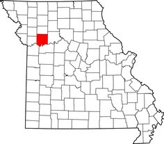 #51 - Map of Missouri highlighting Ray County - Charles died here the 21 May 1886.  Emily would live another 25 years without her Charles.