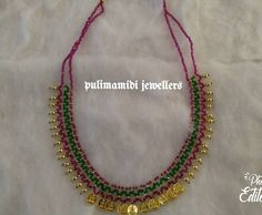 Stunning necklace with lakshmi kasu hangings. Necklace with gold ball hanings. Necklace with green and pink color beads. 31 May 2018 1 Gram Gold Jewellery, Gold Jewellery Design, Bead Jewellery, Beaded Jewelry, Beaded Necklace, Handmade Jewellery, Gold Necklace, Necklaces, Gold Earrings Designs