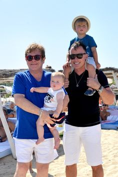 Sir Elton John and husband David Furnish spend a day at the beach with their boys, Zachary Jackson Levon Furnish-John and Elijah Furnish-John, in St. Tropez on August 22, 2013.