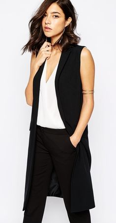d8dcbfb1c50b2 Warehouse Long Vest    fashiontranslate.com Black Vest Outfit