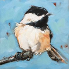 Chickadee painting Original impressionistic oil by LaveryART                                                                                                                                                                                 More