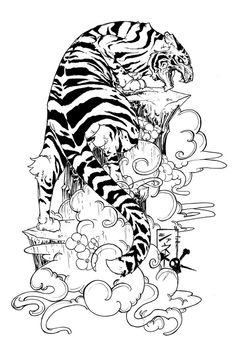 Tiger Design. Love the styled clouds