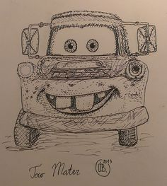 Tow Mater Cars illustration drawing artwork ink pen doodle graphic sketch draw contest Disney Pixar