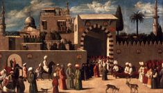 Anonymous Venetian orientalist painting - 'The reception of the ambassadors in Damascus.' 1511.