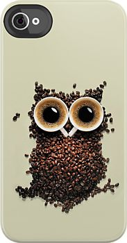 Made in USA, Great Case, Sharp image & Fast Shipping. Cute Retro Coffee Kawaii Owl - iphone 4 case or iphone 4s case