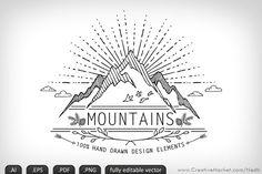 Mountains Handdrawn Doodle Vector
