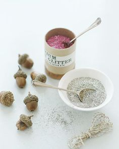 Glitter Acorns (nice as ornaments or could make a garland). I prefer the idea of the tops dipped in glitter better
