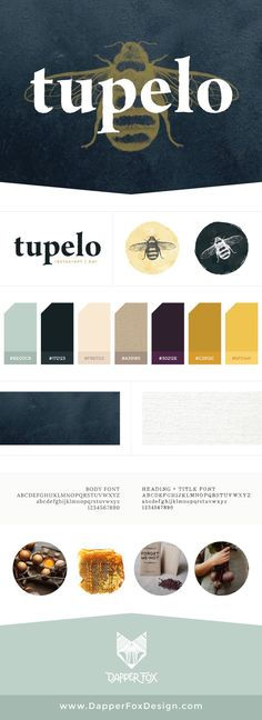 Restaurant Style Guide for Tupelo Park City by Dapper Fox Design - Yellow, Green, Purple, Gold, Honey Moody Food, Rustic