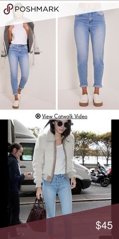 Light Wash Mom Jeans Brand new with tags and never worn, i accidentally purchase 2 pairs of the same jeans. They are high waisted and are look alikes to the jeans Kendall Jenner is wearing in the 1st pic. UK Size: 4 US Size: 0 (Tagged under Forever 21 for exposure) Forever 21 Jeans Boyfriend