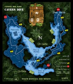 mapa cenote dos ojos /// Map of dos ojos (two eyes) cenote, if you save your air you can go to both sides without stopping!