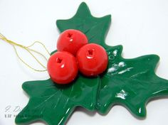 Christmas Holly Berry Ornament by lilmisspeanut on Etsy