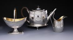 A rare four-piece tea service by James Douglas, circa 1800, three marks, ID and two indistinct marks in shield shape punches Tea Service, Punch, Tea Pots, Initials, Shapes, Tableware, Silver, Dinnerware, Tablewares