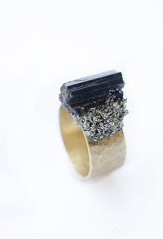 Stone Ring Raw Pyrite and Black Tourmaline Crystal  Raw brass Gold ring base Boho Bohemian Chic Style