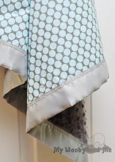 Polka Dot Moon Minky Baby Blanket with Satin Trim  by MyWoobyandMe, $26.99