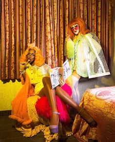 Category is 'naughty nighty' starring Shea Couleé and Sasha Velour. Full 10 page fashion story 'Bon Nuit' exclusive in the Drag Magazine issue 3