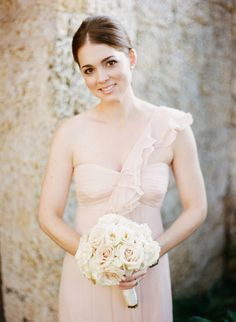 Blush pink for bridesmaids dresses. One shoulder - ruffle - so pretty! See more here:  http://www.StyleMePretty.com/2014/05/22/croalgables-traditional-wedding/ #SMP - Photography: JulieCate.com