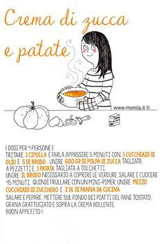 Monila,Monila handmade,illustrazione,ricette illustrate,recipe,illustration,Crema di zucca e patate