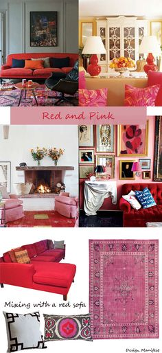 red and pink living rooms  Design Manifest: Designing around a Red Sofa