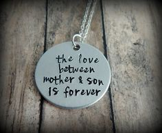 the love between mother & son is forever Hand Stamped Necklace - Mother's Day Gift from son to mother - Birthday by kimgilbert3 on Etsy
