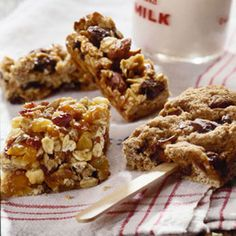 pick-me-up bars recipe:  Whole wheat flour and dates provide fiber and nutrients to create these healthy snack bars, which would also be great for breakfast or dessert.