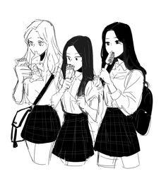 Friend Anime, Anime Best Friends, Kawaii Anime Girl, Anime Art Girl, Manga Drawing, Manga Art, Character Drawing, Character Design, Anime Friendship