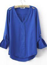 Blue Chiffon V Neck Studded Shoulder Roll Long Sleeve Blouses 0.00 #SheInside