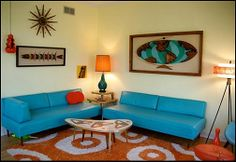 As modern design becomes more and more popular, so does retro furniture. While some may see retro furniture as old and outdated, that simply isn't the 1950s Living Room, Retro Living Rooms, Mid Century Modern Living Room, Mid Century Decor, Living Room Designs, Mid Century Modern Fabric, Vintage Apartment, Living Room Orange, Retro Renovation