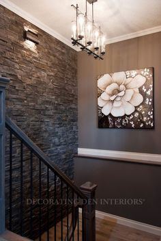 Cool sonneman lighting in staircase modern with reclaimed wood stone wall for the hallway would be great going down the basement stairs if we ever finish the basementwould probably use a lighter shade of stone aloadofball Image collections